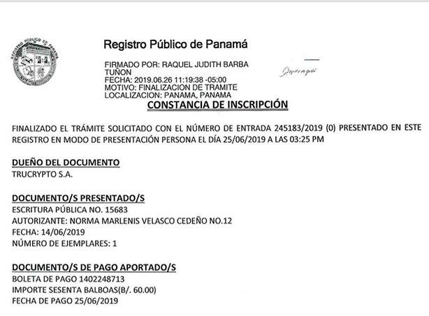Cópia do Registro da Empresa no Panamá
